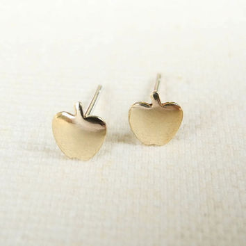 Apple Earring Studs,Gold Apple Earrings,Tiny Gold Brass Earrings,Apple Jewelry,Fruit Jewelry,Hypoallergenic Sterling Silver Earrings (E247)
