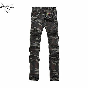 Military Multi Pockets Camouflage Trousers Zipper Pleated Skinny Jeans Cargo Small Feet Pants Jeans Male