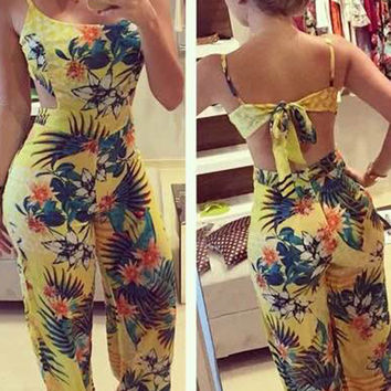 Yellow Floral Print Tied Open Back Cami Jumpsuit