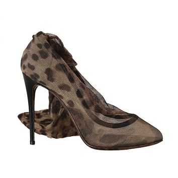 Dolce & Gabbana Brown Leopard Tulle Pumps Boots