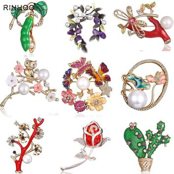 Spring Tree Rose Flower Cactus Plant Butterfly Brooch Pin Crystal Rhinestone Imitation Pearl Brooches Women Jewelry Boutonniere