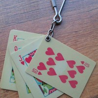 Vintage poker hand keychain key fob girlie playing cards