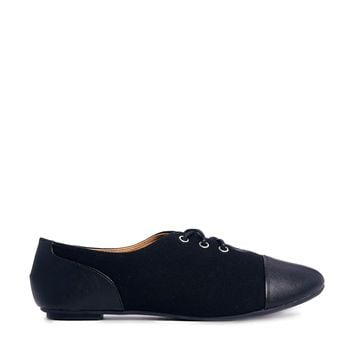 ASOS MIRROR Lace Up Flat Shoes - Black