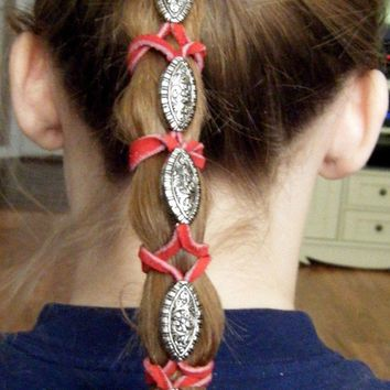 Hair Wrap w 6  Metal Beads and Red Leather