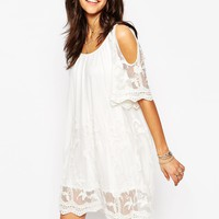 Boohoo Off The Shoulder Lace Insert Shift Dress