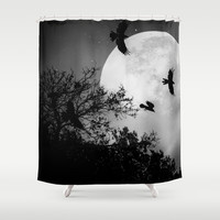 Haunting Moon & Trees Shower Curtain by 2sweet4words Designs