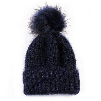 LMF9GW 2016 Winter Autumn Fashion Women Wool Knitted Beanies Caps 100% Real Natural Fur Pom pom Beanie Hats For Women Hot