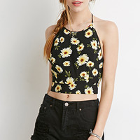 Daisy Print Halter Crop Top