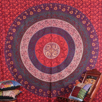 The Ciessa Orange Red Mandala Boho Bohemian Tapestry