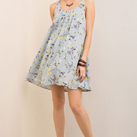 Gray Floral A-Line Pleated Dress
