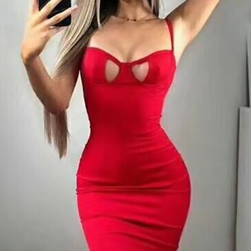 Careless And Free Red Sleeveless Spaghetti Strap Bustier Cut Out Bodycon Bandage Midi Dress