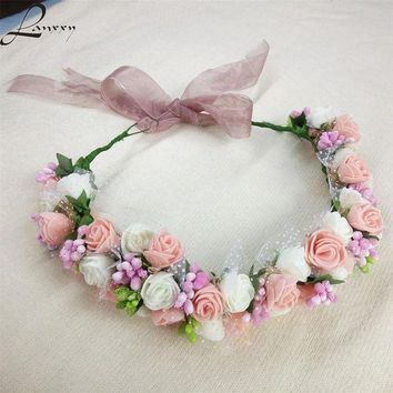 PEAPGC3 Lanxxy New Women Wedding Bridal Hair Bands Flowers Hair Accessories Floral Crown Girls Summer Headwear Fashion Headband