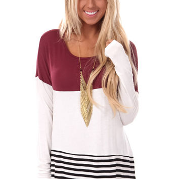 Burgundy Color Block Top with Crochet Detail Back