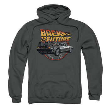 Back To The Future Men's  Time Machine Hooded Sweatshirt Charcoal