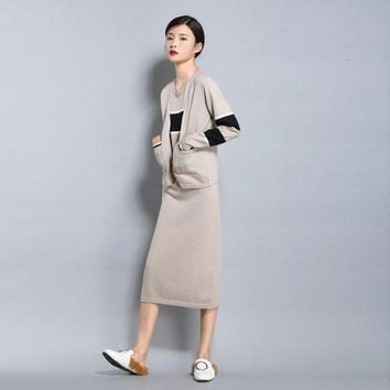 DCCKFV3 Spring autumn NEW women's Wool blended knit Cardigan short jacket loose fashion Sweater stripe color vest Long Skirt Two pieces