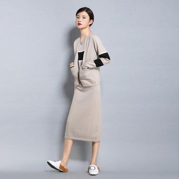 LMFIJ6 Spring autumn NEW women's Wool blended knit Cardigan short jacket loose fashion Sweater stripe color vest Long Skirt Two pieces