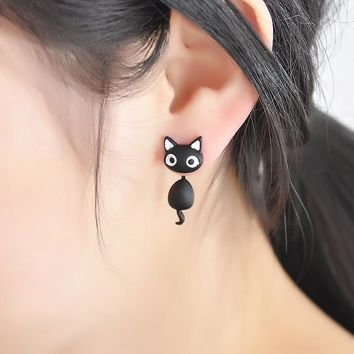 Black and White Cat Earings