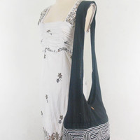 Vintage Black Boho bag-Hill Tribal Gpysy Hippie Hobo Bag Women thai handbags Crossbody bag Sling Cotton Shoulder Messenger bag Purse