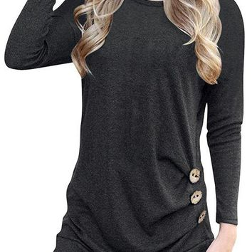 Black Crew Neck Long Sleeves Causal T-shirt