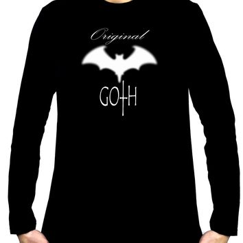Original Goth w/ Blurred Bat Men's Long Sleeve T-Shirt Gothic Clothing