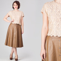 90s Lace Crop Top / Champagne Lacey Cropped Top / Button Back Elegant Lady Cocktail Medium M Top