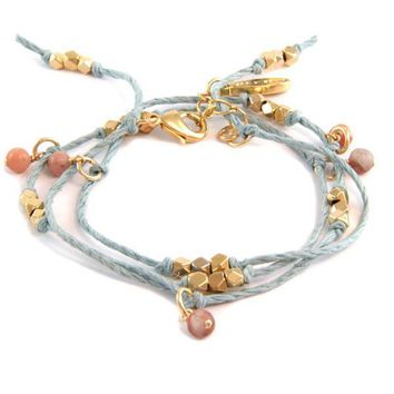 Natural Baby Blue Hemp Wrap Bracelet with Unakite Semi Precious Stones and Bead Accent Combo