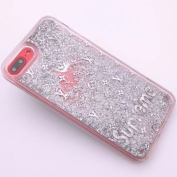 LV & Supreme New iPhone8 Mobile Shell 7plus Beads Soft Edge Diamond Phone Case F0287-1 silver