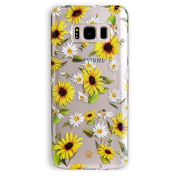 Sunflower Daisy Clear Samsung Galaxy Case