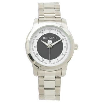 Elegant Monogram Black and White Watch