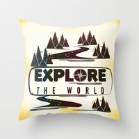 Explore the world Throw Pillow by Famenxt