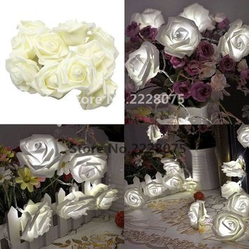 120CM 10LED Rose Flower LED String Lights Battery Operated Event Christmas Wedding Birthday Party Decoration Lightings Steady On