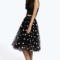 Boutique Helen Polka Dot Mesh Full Circle Midi Skirt