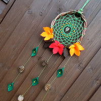 7.5'' Autumn Brown Red Orange Felt Leaves Dreamcatcher - Natural Rustic Pinecone Dream Catcher mobile - Wall Hanging Boho Hippie Home Decor