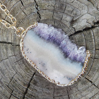Amethyst Druzy Slice Necklace Crystal Pendant 24K Gold - Free Shipping Jewelry