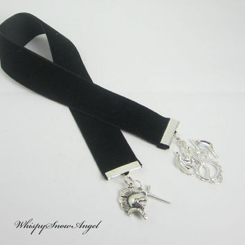 Fantasy Dragon Ribbon Bookmark Black Velvet Ribbon Dragon Helmet Dagger Charms Medieval