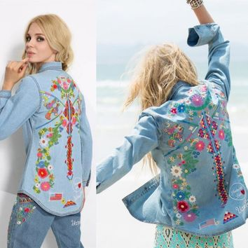 Women embroidery hippie style denim shirt