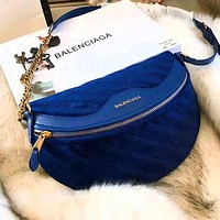 BALENCIAGA High Quality Autumn Winter Newest Fashionable Women Leather Velvet Shoulder Bag Crossbody Satchel Blue