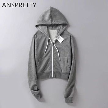 Anspretty Apparel 2017 women cropped hoodie zip-up sexy short sweatshirt fashion female jumper