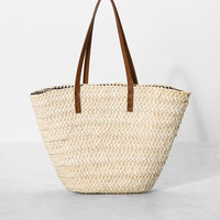 Print-lined straw basket - Bags - Bershka United Kingdom