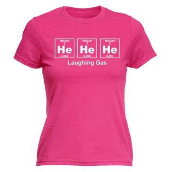 123t USA Women's He He He Laughing Gas Periodic Design Funny T-Shirt