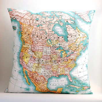 vintage NORTH AMERICA map pillow DIY kit, made to order 16x16 envelope style