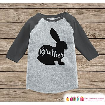 Kids Spring Outfit - Brother Bunny Shirt or Onepiece - Bunny Silhouette Family Shirts - Baby, Toddler - Boys Easter Sibling Shirts - Grey