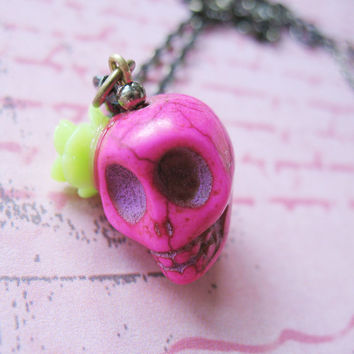 Day Of The Dead Necklace - Dia De Los Muertos Hot Pink Skull Necklace With Green Rose Flower - Araceli