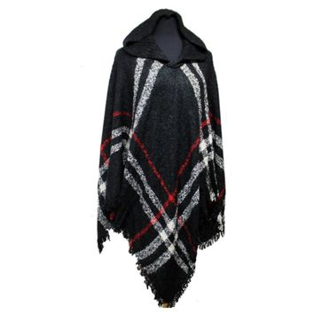 "Always My Style"" Fringe Trim Black Plaid Hooded Poncho"