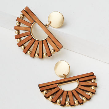 AE Oversized Wooden Earring, Brown