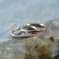 Hoop Earrings Pink Gold Filled Endless Face Hammered
