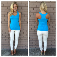 Ocean Blue T-Back Cotton Tank