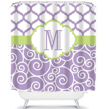 Monogram Shower Curtain Initials Name Trellis Quatrefoil Swirl CUSTOM Purple Lavender Lime Chevron Choose Colors Bathroom Bath Made in USA