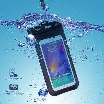 """Universal Waterproof Case, JOTO CellPhone Dry Bag Pouch for Apple iPhone 6S 6,6S Plus,7 SE 5S, Samsung Galaxy S7, S6 Note 7 5, HTC LG Sony Nokia Motorola up to 6.0"""" diagonal -Black"""