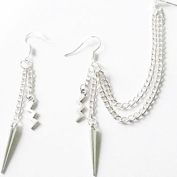 Antique silver lightning bolt and spike cartilage earrings (pair)